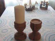 2 wood candle holders        candle just for show in Alamogordo, New Mexico