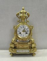 French Bronze Gilt and Sevre Panel Mantel Clock in Miramar, California