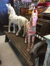 Wooden White Distressed Standing Horse from Reclaimed Wood in 29 Palms, California