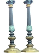 Antique Pair Brass Green Candle Stand Holders in 29 Palms, California