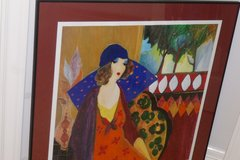 "Tarkay huge, metal frame/matted/glass, ""Indigo Charpeau"" Beautiful w/make great gift, Authentici... in Sugar Land, Texas"