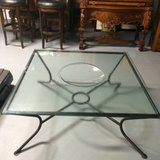 Glass coffee table with concave inset in Chicago, Illinois