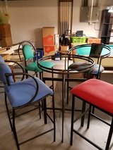 "50""s Bistro set,  glass with beveled edges, wrought iron table in Chicago, Illinois"