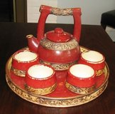 PIER 1 EARTHENWARE TEA SET 7 PIECE RED ORIENTAL STYLE in Chicago, Illinois