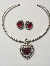 Red Heart/Purple Necklace Charm & Earrings Set (price each) in Eglin AFB, Florida