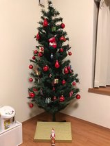 Christmas tree and two set of decorations, lightings in Okinawa, Japan