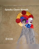 Spooky clown wreath in San Antonio, Texas