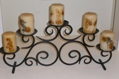 Black Scrolled Metal 5 Tier Candle Holder, includes candles! New, great gift idea too :-) in Katy, Texas