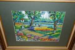 Park Bench by Polak, crackled frame, w/acid-free mat & glass, Gorgeous 12x14 in Katy, Texas