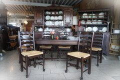 solid tiger oak dining room set with 6 chairs in Ansbach, Germany