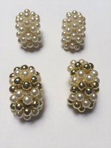 White/White & Gold Clip on Earrings in Eglin AFB, Florida