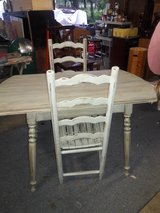 Country rustic shabby chic table & 2 ladder back chairs in Conroe, Texas