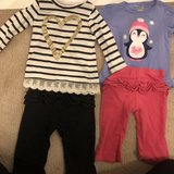 Girls 12 months shimmery long sleeves shirts with ruffled pants in Yorkville, Illinois