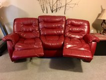 Reclining Couch and Loveseat - Red Leather in Fort Leonard Wood, Missouri