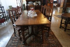 rustic solid oak dining room set with 6 chairs in Wiesbaden, GE