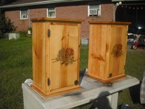 matching hand burned cabinets/night stands/ end tables in Camp Lejeune, North Carolina