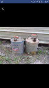 Antique gas cans in Fort Polk, Louisiana