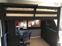 full sized loft bed with desk in Joliet, Illinois