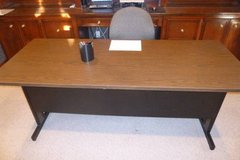 "6'x30"" 2-Tone Metal Desk,wood-grain looking top, lots of storage on bottom/back underneath shelf. in Katy, Texas"