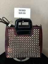 BRAND NEW! Burgundy SUPER STUDDED/JEWELED , burgundy/black alligator accents on front/back, pate... in Nellis AFB, Nevada