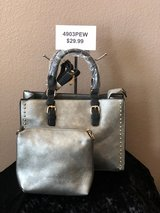 BRAND NEW!Pewter(Silver toned) classic tote with studded side, extra strap include, COMBO!! incl... in Nellis AFB, Nevada