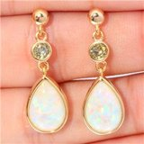 New - White Fire Opal and Green Peridot Gold Filled Earrings in Alamogordo, New Mexico