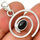 """New - Spiral Black Onyx 925 Sterling Silver 1 1/4"""" Pendant (Includes a chain) in Alamogordo, New Mexico"""