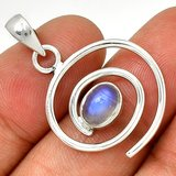 """New - Spiral Rainbow Moonstone 925 Sterling Silver 1 1/4"""" Pendant (Includes a chain) in Alamogordo, New Mexico"""