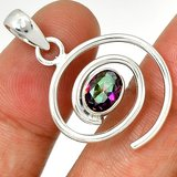 """New - Spiral Rainbow Topaz 925 Sterling Silver 1 1/4"""" Pendant (Includes a chain) in Alamogordo, New Mexico"""