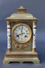 19th Century French Mantle Clock With Porcelain Columns & Dial in Birmingham, Alabama