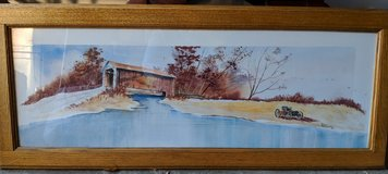 Watercolor Covered Bridge in Plainfield, Illinois