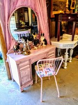 pearl pink antique dressing vanity and chair in Cherry Point, North Carolina