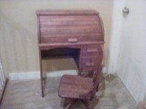 Small child's roll top desk and chair in Ottawa, Illinois