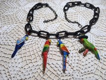 Necklace Vintage Birds Four Hand Painted Wood on Large Black Oval Loop Chain Unique Custom in Kingwood, Texas