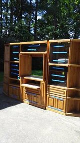 reduced! Solid oak entertainment center in Tacoma, Washington