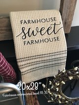 Embroidered farmhouse towels in Sandwich, Illinois