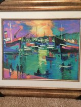 """25"""" x 29"""" Signed seriolithograph, by Jean-Claude Picot """"Un Soir D'Ete"""" vibrant colors, framed/glass in Katy, Texas"""