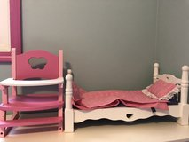 Melissa & Doug Deluxe Wooden Doll Furniture - Bed and High Chair with a Removable Tray. in Naperville, Illinois