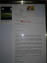 Boston Red Sox, 100 years of Baseball 1stday of issue stamp& letter by General Mgr in Las Vegas, Nevada