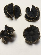 Black & Gold Fabric Pierced Earrings w/Matching Shoe Clip On in Eglin AFB, Florida