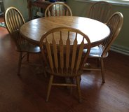 Oak Dining pedastal table with Leaf in Schaumburg, Illinois