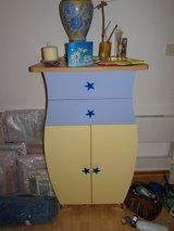 Set of 3 - French made chests in french blue and yellow in Spangdahlem, Germany