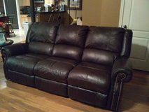 Leather couch with recliners in Cleveland, Texas