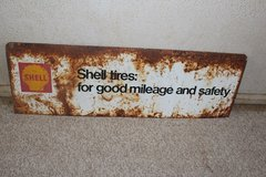 Vintage orginal metal Shell Brands Tire sign in Alamogordo, New Mexico