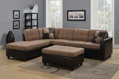 Reversible Tan Microfiber Sectional Sofa With Chaise Set And Pillows in Oswego, New York