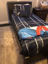 Faux Leather Twin Bed w/Mattress and Bedding (OBO) in Nashville, Tennessee