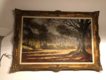 Very large old German oil painting with ornate frame in Hohenfels, Germany