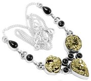 "New - Peruvian Golden Pyrite & Black Onyx 925 Sterling Silver 20.3"" Necklace in Alamogordo, New Mexico"