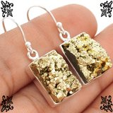"New - Peruvian Golden Pyrite 925 Sterling Silver 1 1/4"" Earrings in Alamogordo, New Mexico"