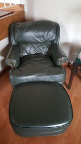 LEATHER GREEN CHAIR & OTTOMAN in Glendale Heights, Illinois